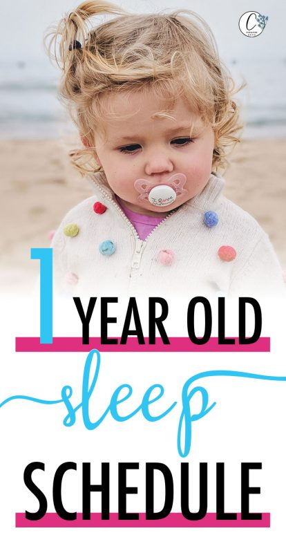 Pinterest image about a 1 year old sleep schedule