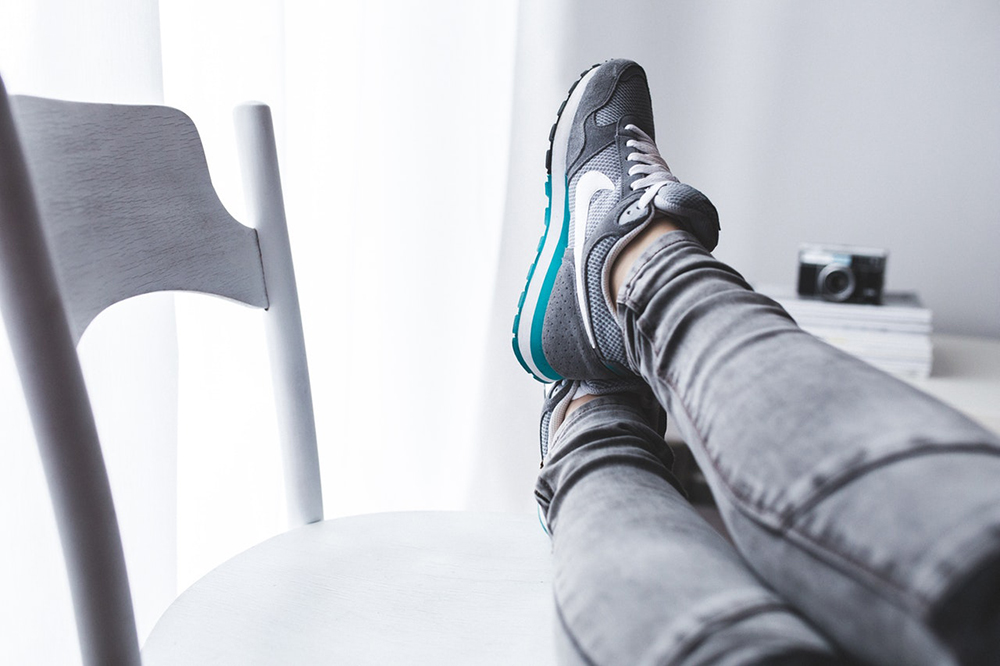 feet up on chair
