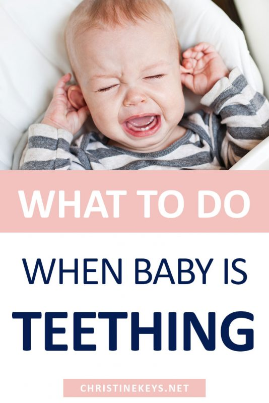 Pinterest image about what to do when baby is teething