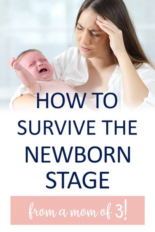Pinterest image about how to survive the newborn stage