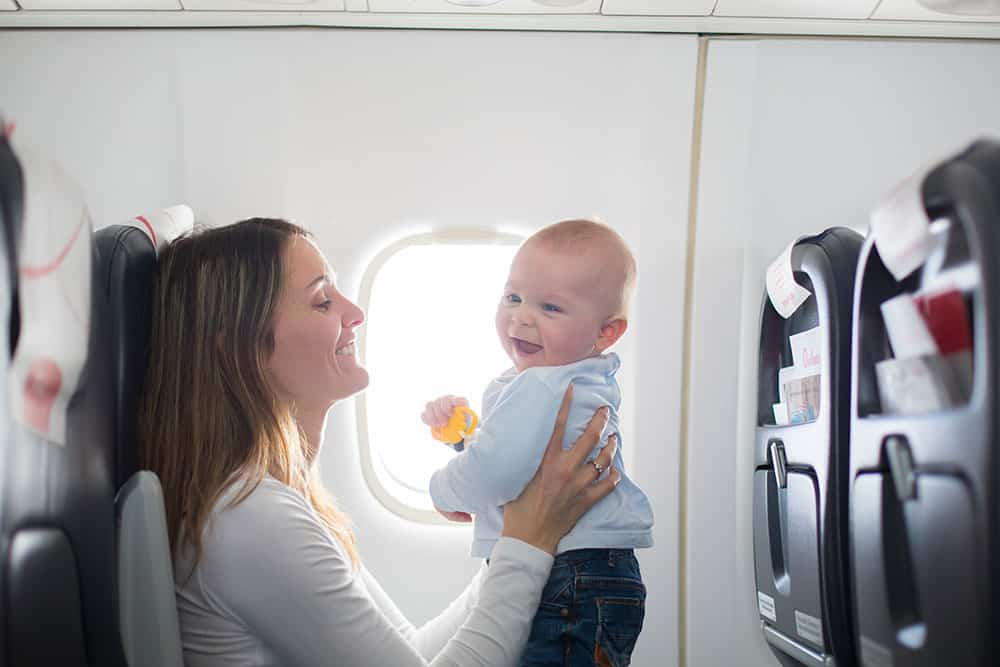 mom flying with a baby