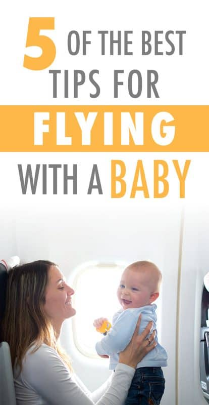 Pinterest image about tips for flying with a baby