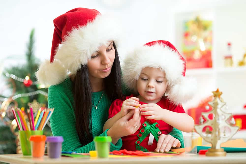 Mom doing Christmas Activities for Toddlers