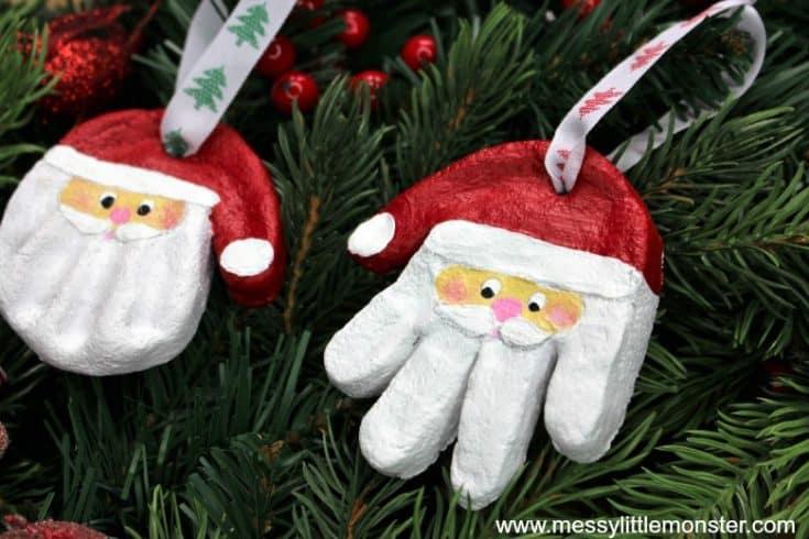 Santa Salt Dough Handprint Ornaments & Easy Salt Dough Recipe