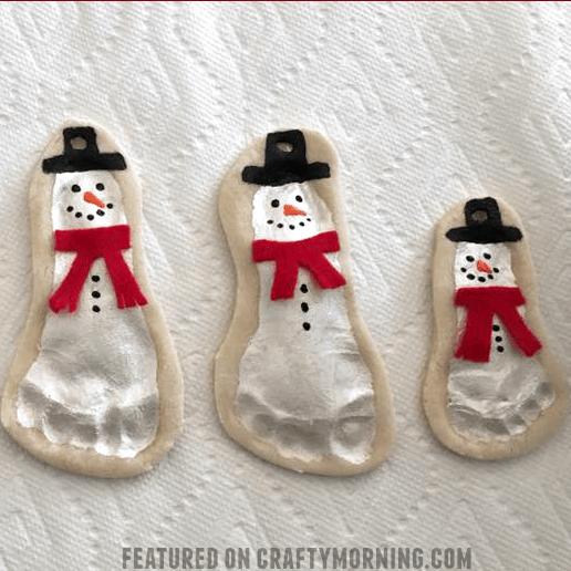 Salt Dough Footprint Snowman Keepsakes