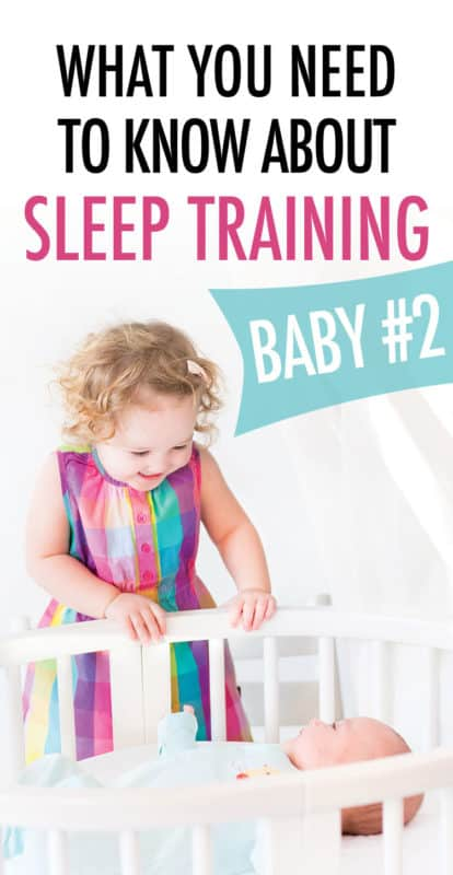 Pinterest image about what you need to know about sleep training your second child