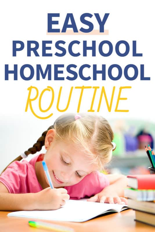 Pinterest image about a preschool homeschool routine