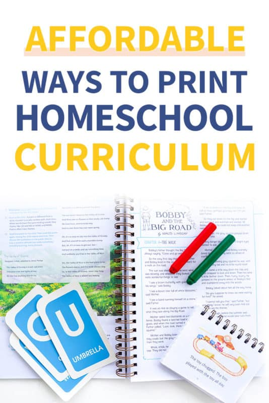 How to print homeschool curriculum for cheap