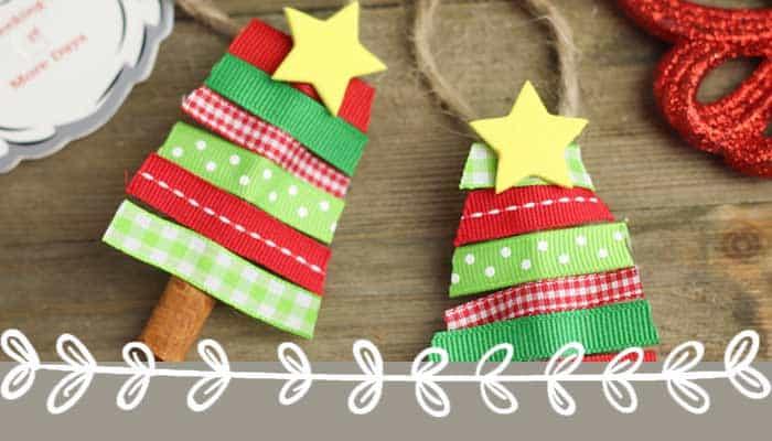Cinnamon Stick Ribbon Trees: Simple Preschool Christmas Ornaments