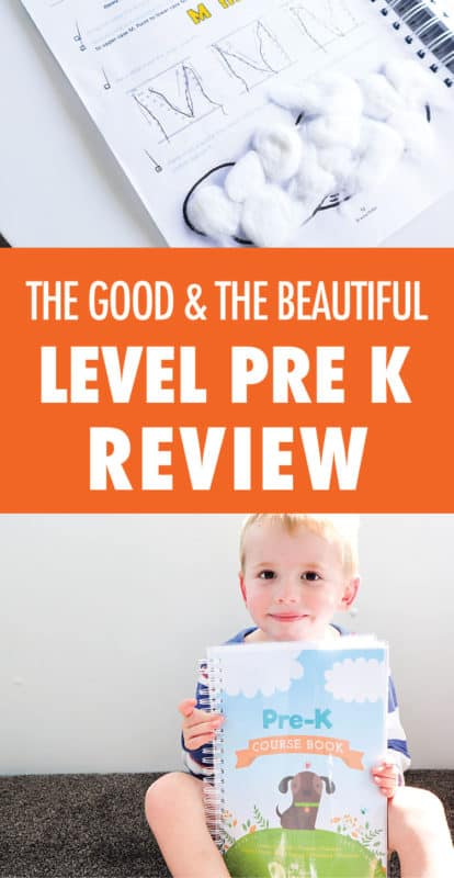Pinterest image about the good & the beautiful level pre k review