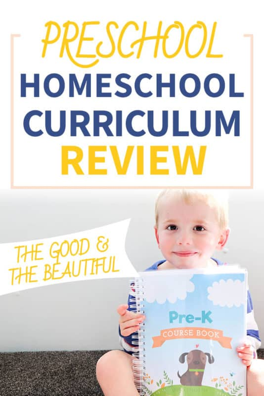 Pinterest image about the Good and the Beautiful Level Pre K Review