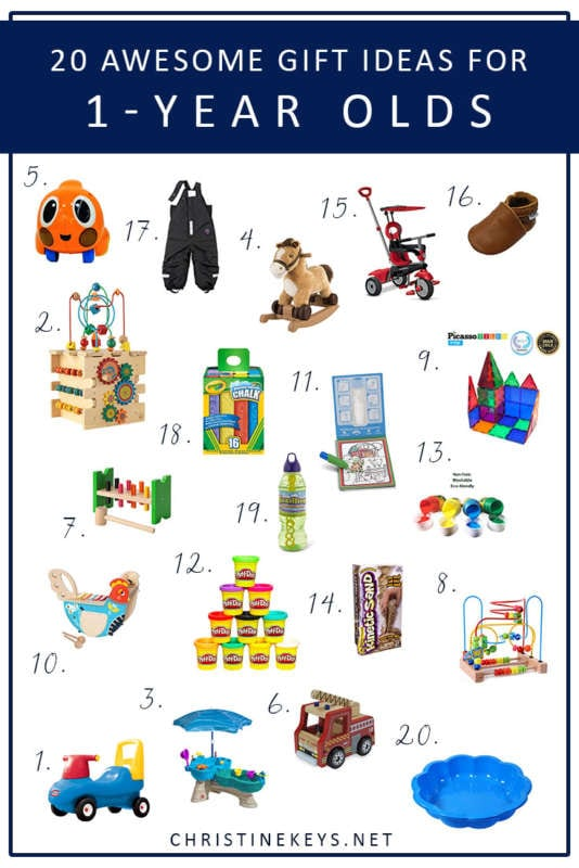 20 Awesome Gift Ideas For 1-Year Olds! || Stuck for what to get your 1-year old for their birthday or Christmas? Need a gift to take to a birthday party? Use this helpful gift guide to get you started! #giftguide #christmas #toddlers #1yearold #presents #gifts #motherhood #parenting #toddlerproducts