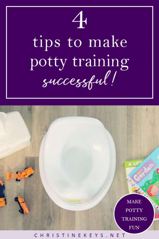 4 Tips to Make Potty Training Successful! || Find out how to make potty training less stressful and more positive with these 4 tips. #pottytraining #toddler #baby #parenting