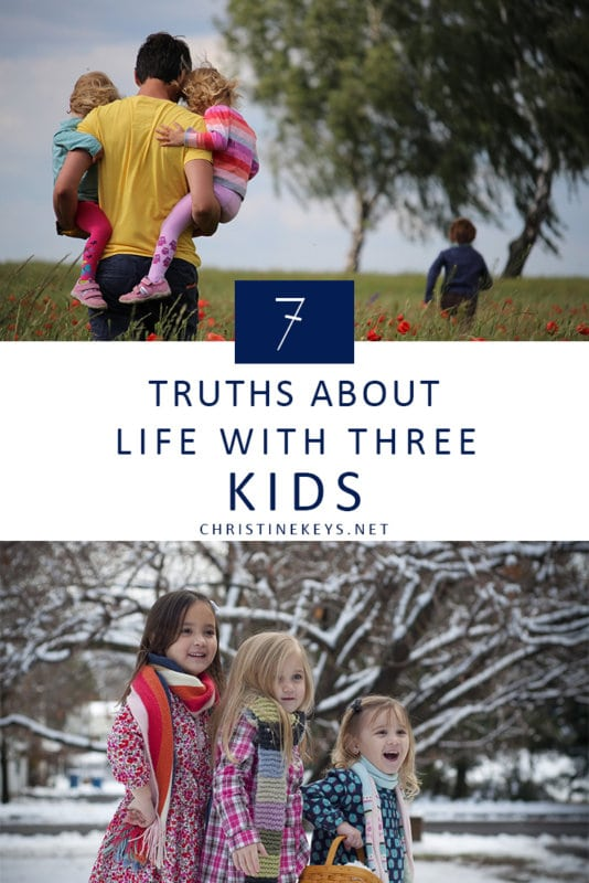 7 Truths About Life With Three Kids || Find out what it's really like having 3 kids and if it is as difficult as everyone says. #parenting #3kids #motherhood #kids #children #babies