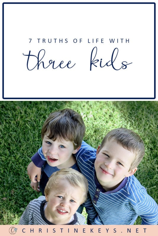 7 Truths of Life With Three Kids || Find out what it's really like having 3 kids and if it is as difficult as everyone says. #parenting #3kids #motherhood #kids #children #babies