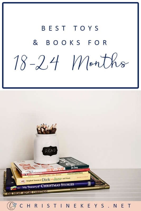Pinterest graphic about the best toys and books for 18-24 months