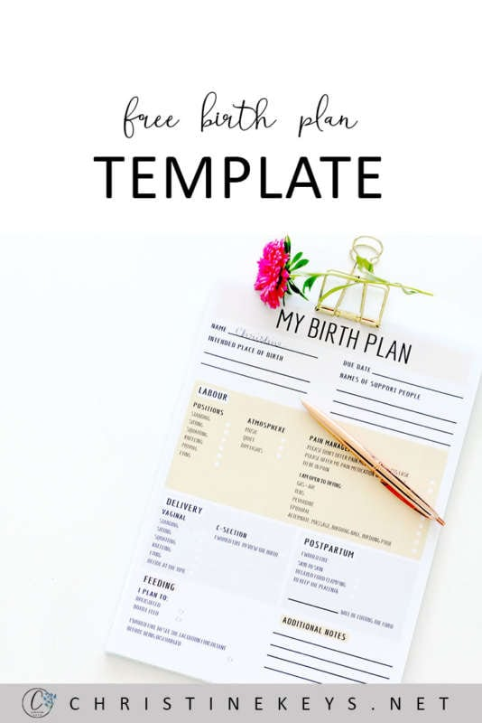Pinterest image about a free birth plan template