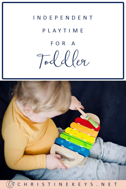 Pinterest image about independent play time for a toddler