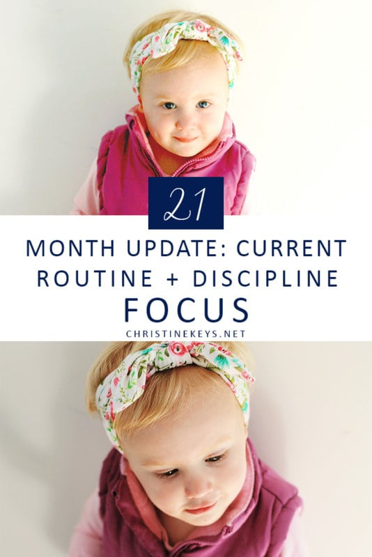 21 Month Update: Current Routine + Discipline Focus || Find an updated routine in this post as well as milestone updates and other helpful information. #toddler #toddlerroutine #toddlerdiscipline #discipline #parenting #motherhood