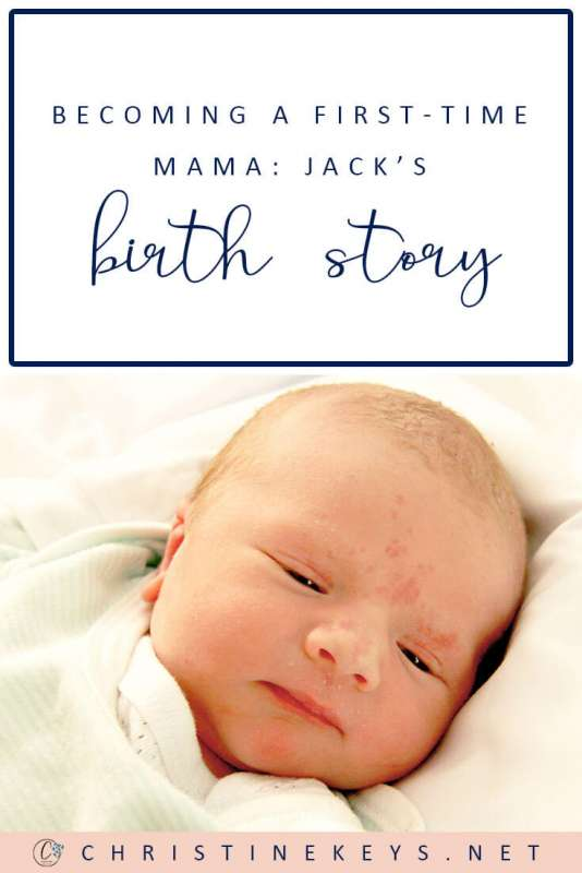 Pinterest image about the birth story of a first time mom