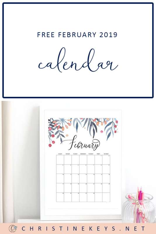 Free February 2019 Calendar || Download and print this stunning floral calendar for February 2019. #calendar #printable #download #papercalendar #organizing #floral #watercolor #2019