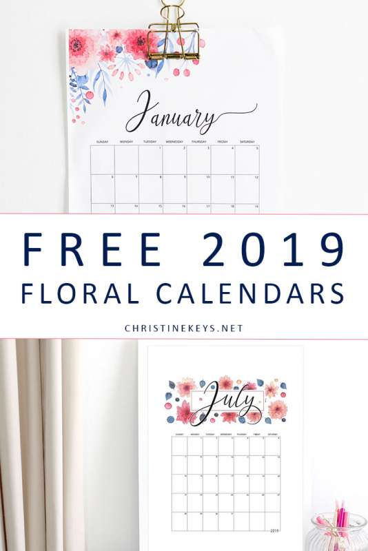 Free Floral 2019 Calendars || Download and print these FREE calendars. #calendars #organising #download #instantdownload #free #2019 #2019calendar