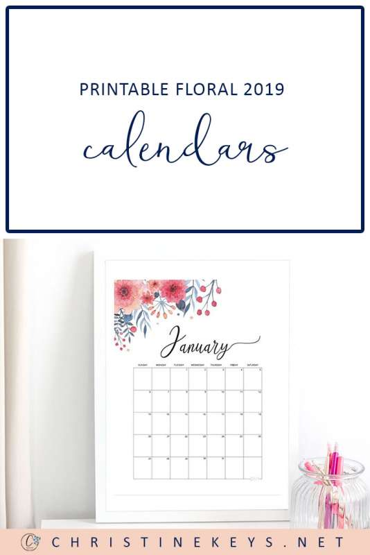 Printable Floral 2019 Calendars || Download and print these FREE calendars. #calendars #organising #download #instantdownload #free #2019 #2019calendar