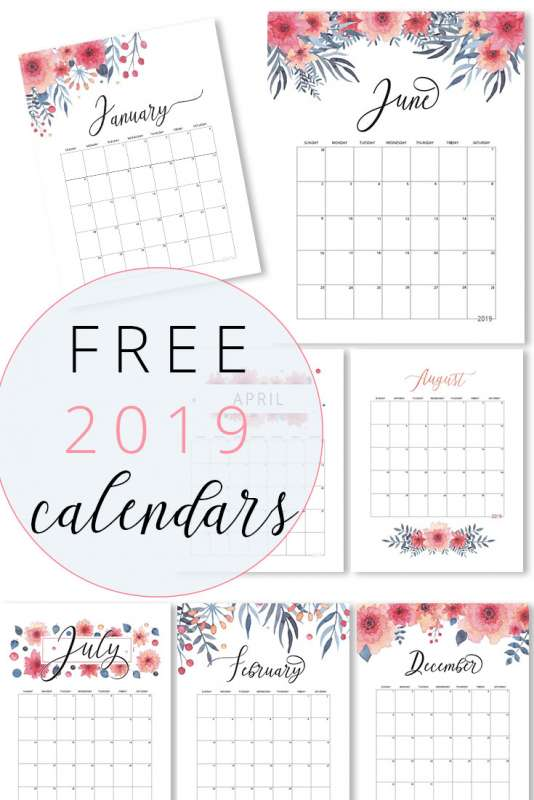 FREE 2019 Calendars || Download and print these FREE calendars. #calendars #organising #download #instantdownload #free #2019 #2019calendar