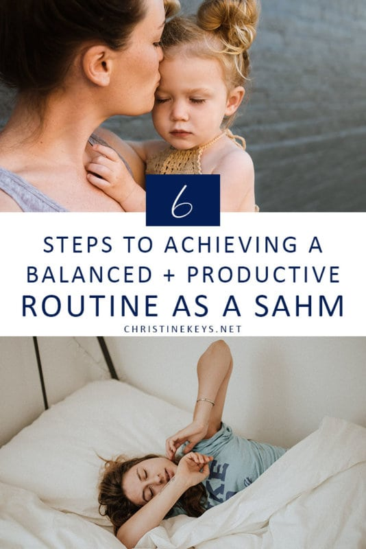 Pinterest image about how to have a productive routine as a SAHM