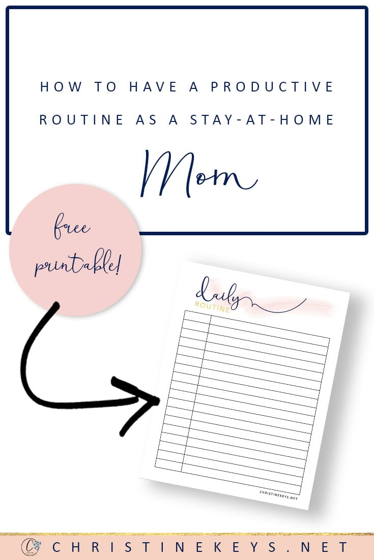 Printable daily routine for stay at home moms