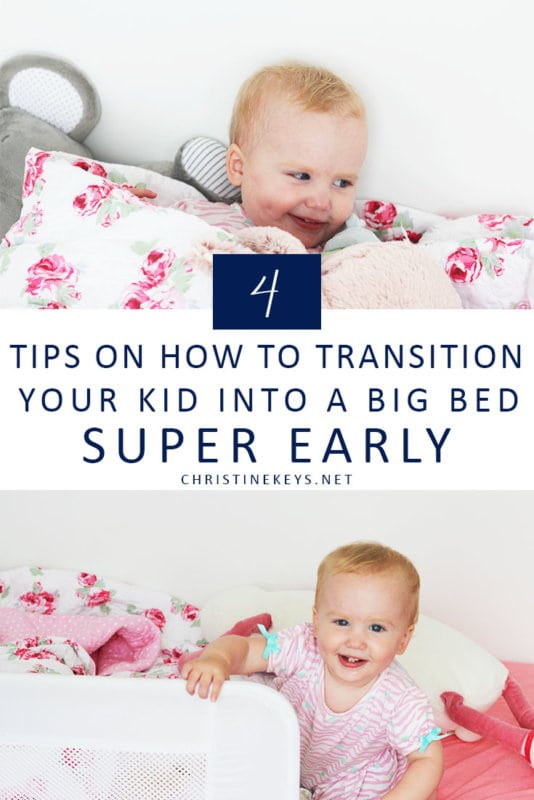 Pinterest image about how to transition from crib to bed