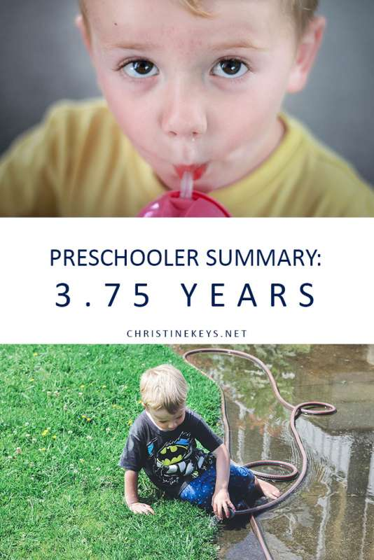 Preschooler Summary: 3.75 Years || Read about Jack's routine at 3-years old. Find out what milestones he has reached and what he is learning. #parenting #preschooler #preschoolerroutine #routine #toddler #motherhood