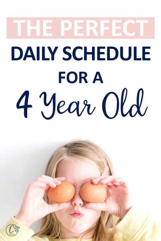 Pinterest image about the perfect daily schedule for a 4 year old