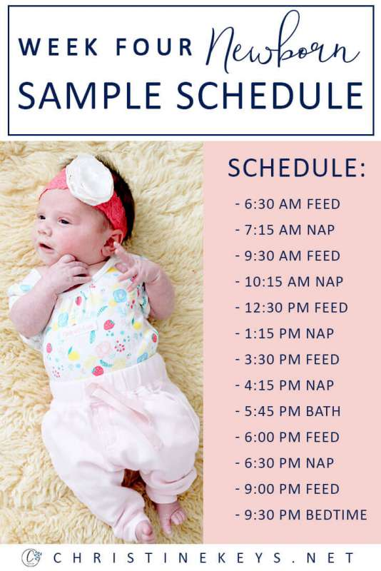 Week Four Newborn Sample Schedule || Find out what week four looked like for us and what schedule we followed. #parenting #baby #newborn #schedule #routine #sleep #babysleep #motherhood