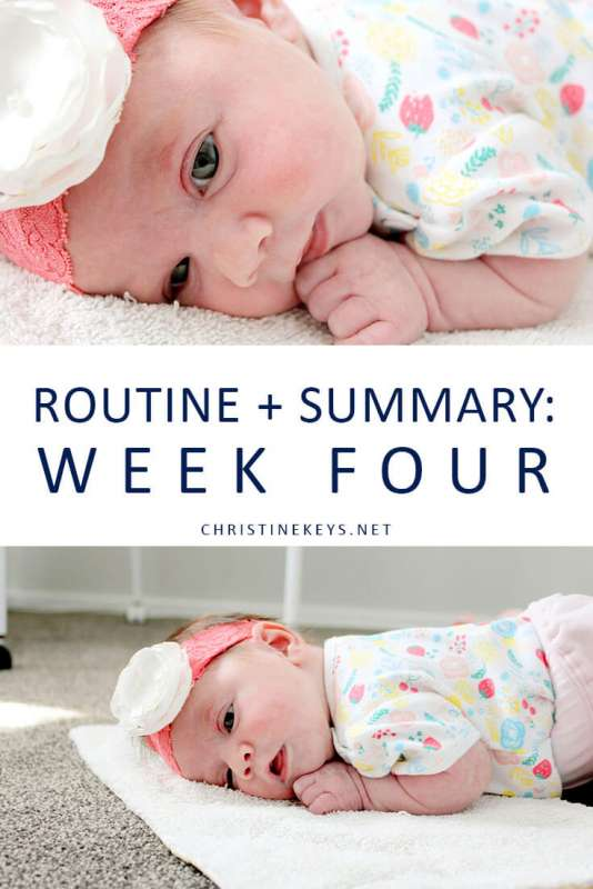 Pinterest image about a routine for a 4 week old